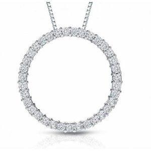 SPARKLING round diamond pendant solid white gold j